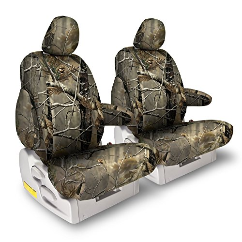 Front Seats: ShearComfort Custom Realtree Camo Seat Covers for Ford Ranger (1998-2002) in AP for 60/40 Split Bottom w/High Backs and Folddown Center Console with 1 Hinge on Console