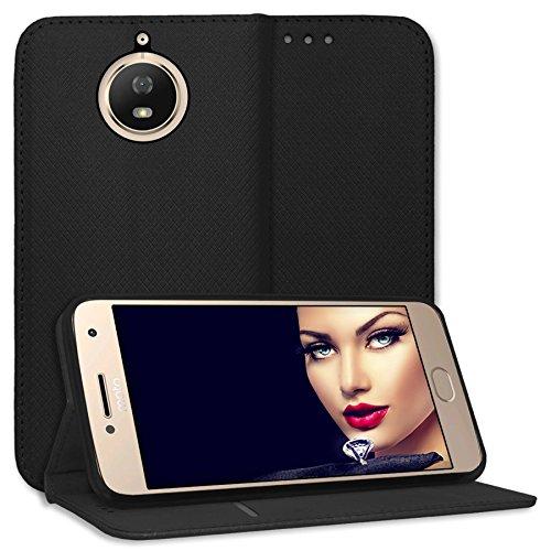 mtb more energy® Schutz-Tasche Bookstyle für Motorola Moto G5S (XT1794, 5.2'') - schwarz - Kunstleder - Klapp-Cover Hülle Hülle