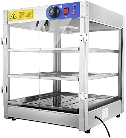 3 Tier Food Pastry Pizza Warmer Countertop Commercial Display Case See Through 750W Adjustable product image