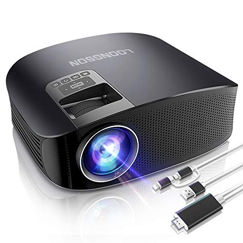 Mini Projector,LoongSon Portable Video Projector Full HD 1080P Supported for Home Theater Movie Projector with 30,000 Hours LED, Compatible with TV Stick, HDMI, VGA, USB, SD,AV,PS4,Laptop (Black)