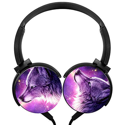 CTWUVS ADPR Purple Galaxy Wolf Wired Headphones Headsets Foldable Over Ear for Boys Girls Black