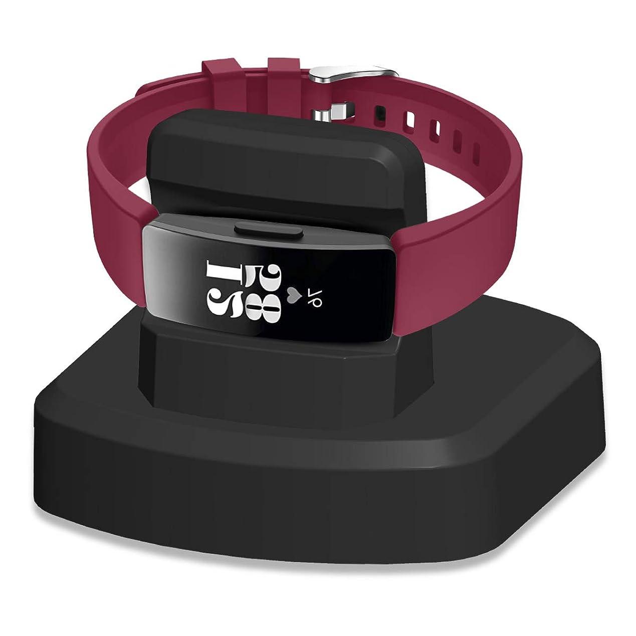 推測くすぐったい拡散するKartice for Fitbit Inspire/Fitbit Inspire HR専用充電スタンド 丈夫的な高級プラスチック製 USBケー ブル付きクレードル 充電クレードルドック/チャージャースタンド (ブラック)