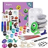 Anpro Steine Bemalen Set, Rock Painting Set, DIY Bastelset wasserfeste Farbe, Steinmalerei Set für Kinder