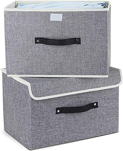 AB SALES Storage Bins Set, Storage Baskets Pack of 2 Foldable Storage Boxes Cubes with Lids, Fabric Storage Bin Organizer Collapsible Box Containers for Nursery,Closet,Bedroom,Home(Light Gray)