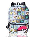 Zaino Pokemon per ragazzi, ragazze, adolescenti, grande zaino con Pikachu, Litten, Rowlet e Popplio Pokemons Trainer scuola zaino Pokemon personaggi zaino per bambini