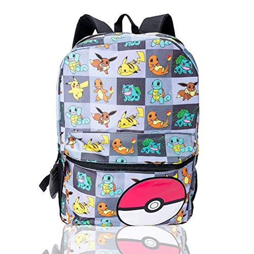 Mochila Pokemon para niños, niñas, adolescentes, mochila grande con Pikachu, Litten, Rowlet y Popplio Pokemons Trainer bolsa escolar para niños