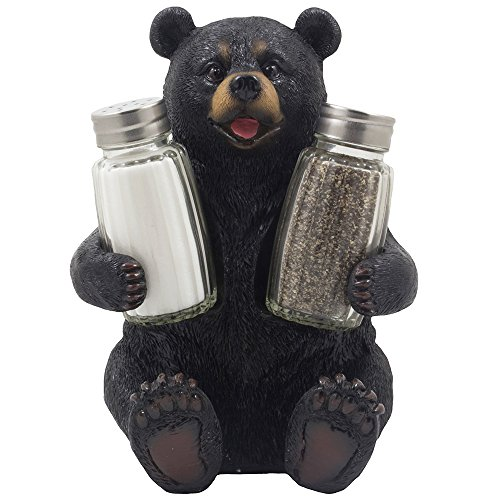 Decorative Black Bear Glass Salt and Pepper Shaker Set with Holder - Teddy Bear Gifts