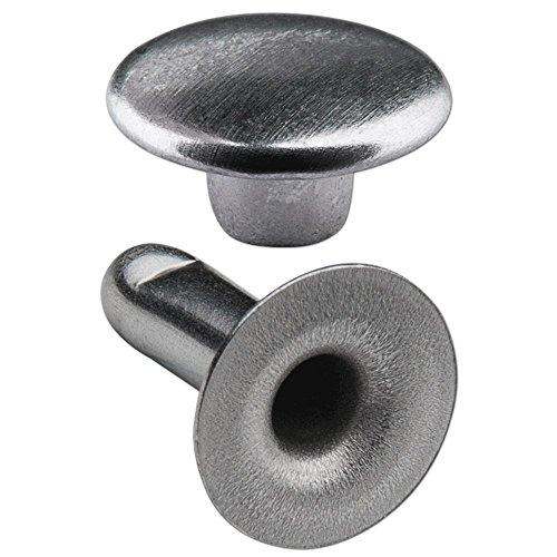 """150 Doppel-Hohlnieten Ziernieten 2-teilig 11mm """"11/12"""" aus Eisen (nickelhaltig), Finish: Nickel-glänzend"""