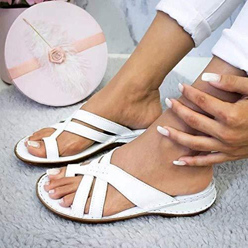 JFFFFWI Sandalias Planas para Mujer Sandalia Plataforma de Verano Sandalias de Punta Abierta Sandalias de Viaje para la Playa para Mujer Cómodas Zapatillas correctivas para juanetes Zapatillas, Blan