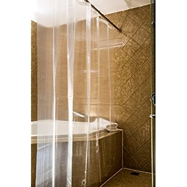 Caitlin White Clear PEVA Shower Curtain Liner, Waterproof, Odorless, Mildew Resistance, Eco Friendly, 72x72 Inches With Magnets