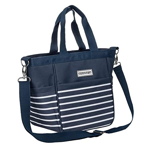 anndora Damen Handtasche Umhängetasche Schultertasche Navy blau weiß