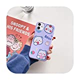 Cute Cartoon Bear Phone Cases para iPhone 11 12 Pro Max 7 8 6 6s Plus X XR XS Max Se 2020 a prueba de golpes suave Tpu cubierta del teléfono Case Purple Bear-para iPhone X (XS)