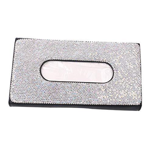 Fenteer Cristales Brillantes Bling Caja de Tejido Accesorios para el Coche Caja de Almacenamiento de Papel para Mujeres -...
