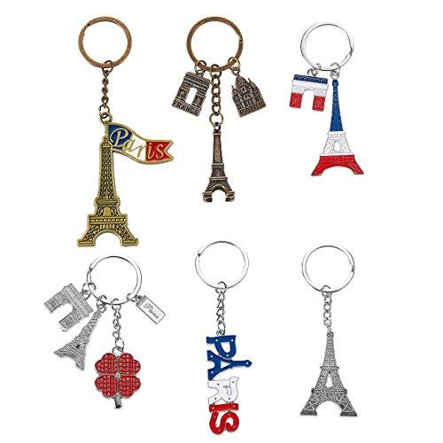 Juvale Schlüsselanhänger Paris (Set, 6 Stück) - 6 Motive: Eiffelturm, Schriftzug Paris in den Farben der Französische Flagge, Arc de Triomphe - AUSVERKAUF