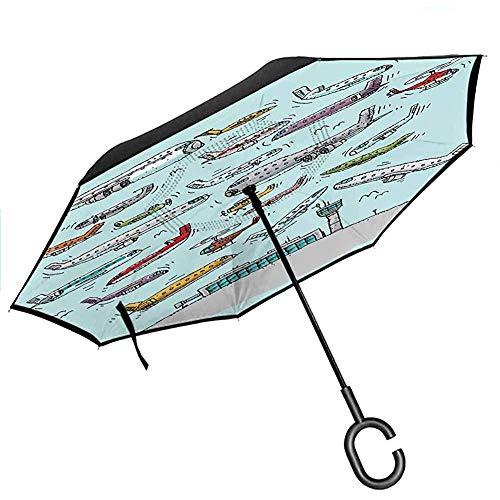 Flugzeug-Regenschirme mit UV-Schutz-Flugzeugen, die im Luftfahrt-Liebes-Flughafen-Hubschrauber-Jet-Cartoon-Art-Druck fying sind