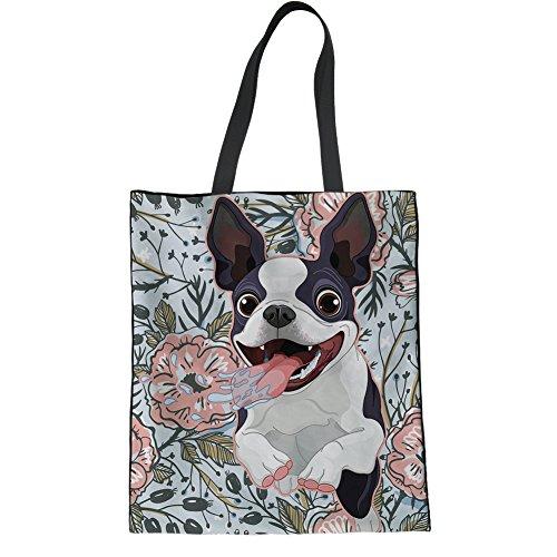 HUGS IDEA Teens Girl Fashion Canvas Tote Bag Boston Terrier Print Travel Shoulder Bag Handbag
