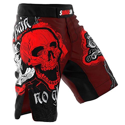 SMMASH MMA Shorts Skull Red S M L XL XXL XXXL MMA BJJ UFC Sport di Combattimento (M)