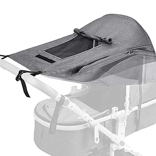 CXQD Toldo Protector Solar Universal,Impermeable Funda para Cochecito de Bebépara Bebés Cochecitos- Parasol Ajustable con Protección UV 50+, Gris