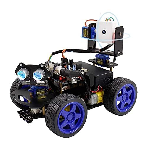 UNO R3 Smart Robot Car Kit, Cámara WiFi Control Remoto Stem Education Toy Car Kits robóticos compatibles con Arduino 4WD Camera Video Scratch Programming, Intelectual Desarrollo Juguetes