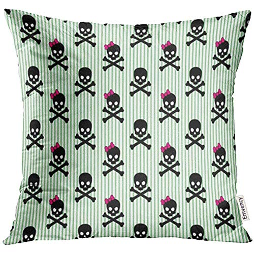 Throw Pillow Case Cover Black Pirate Girly Skull and Crossbones on Striped Pink Punk Halloween Bow Rock Estuches Fundas de Almohada