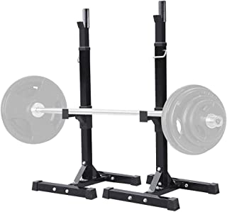Yaheetech Pair of Adjustable Squat Rack Standard Solid Steel Squat Stands Barbell Free Press Bench Home Gym Portable Dumbbell Racks Stands 44-70in