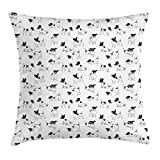 Ambesonne Dog Lover Throw Pillow Cushion Cover, Sketch Style Hand Drawn Jack Russell Terrier Doodles in Various Stances Purebred, Decorative Square Accent Pillow Case, 18' X 18', Black and White