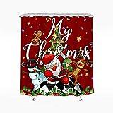 Wasserrhythm Merry Christmas Duschvorhang Weihnachtsmann Schneemann tanzender Duschvorhang Polyester 183 x 183 cm
