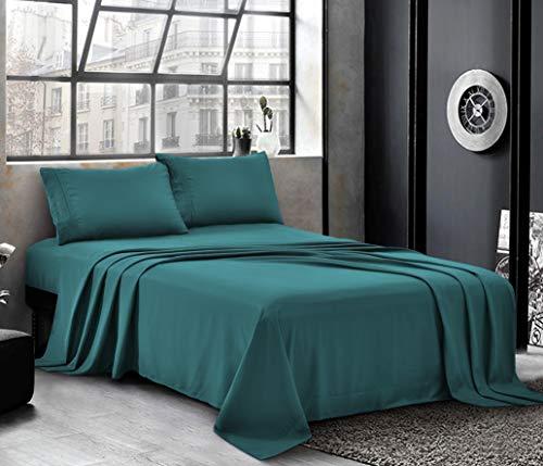 PURE BEDDING Bed Sheets - Sheet Set [4-Piece, - Hotel 1800 Brushed Microfiber (King - Teal)