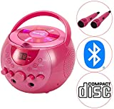 RockJam Karaoke Machine Party Pack with 2 Microphones, 2 Karaoke CD's and Bluetooth, Pink