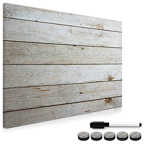 Navaris Memo Board Lavagna Magnetica 70x50cm - Lavagnetta Scrivibile Cancellabile con 1x Pennarello e 5X Calamite - Bacheca Design Effetto Legno