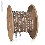 Seilwerk STANKE 1m 2mm Rundstahlkette kurzgliedrig METERWARE verzinkt Stahlkette -- DIN Eisenkette Stahl Eisen Kette abgerundet