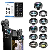 11 in 1 Universal Cell Phone Camera Lens kit.Clip on Smartphone 205°Fisheye 140° Super wide angle 15X Macro Star CPL ND32 Kaleidoscope 4 Color lens for iPhone Samsung Huawei and most of Smartphone