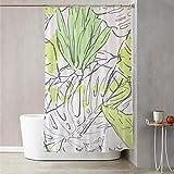 Tenda doccia 180x180 cm con decoro a foglie Multicolore