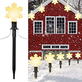 Snowflake Christmas String Lights Pluggable Hangable 7.16 Feet Wire 10 inches Stake Clips Waterproof Connectable Holiday Party Decor Light for Pathway Gutter Roof 2 Pack 10 Lights Warm White