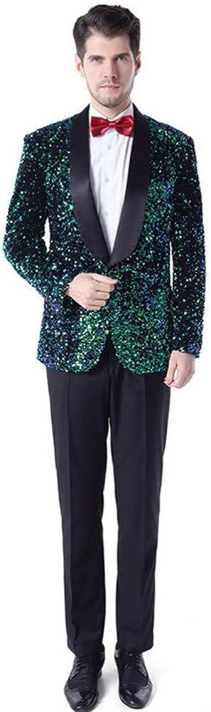 Sequin Men Suits 2 PCs (Jacket+Pants) Slim Fit Shawl Lapel Blazer Wedding Prom Grooms Tuxedo Plus Size