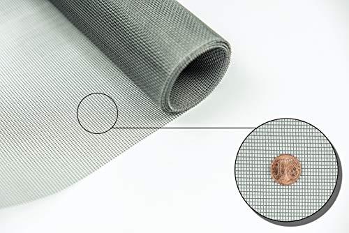 Fliegengitter Gewebe Insektenschutzgewebe grau Rollenware Breite 1,50 m - Längen 5m, 10m, 30m Grundpreis/m² ab 3,19 Euro (Fiberglas, 5 m)