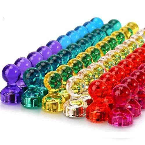 Magnete Whiteboard farbig Wukong, 60 Stücke Push Pins Magnete bunt 11x17mm in 7 Farben kühlschrankmagnete für magnettafel Pinnwand mit Aufbewahrungsbox
