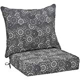 AmazonBasics Deep Seat Patio Seat and Back Cushion- Black Floral
