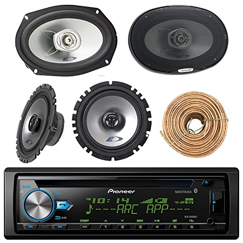 "Pioneer DEH-X6900BT Car Bluetooth Radio USB AUX CD Player Receiver - Bundle Combo with 2X Alpine 6.5"" 80W 2-Way Coaxial Car Speakers + 2X 6x9 Inch 280W Black Speaker + Enrock 50 Ft 18G Speaker Wire"