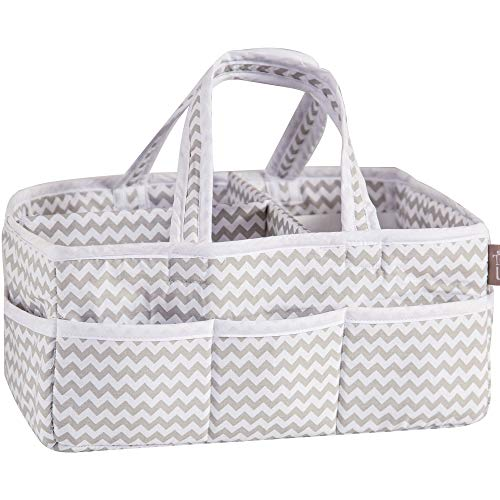 Dove Gray Chevron Zig Zag Nursery Diaper Storage Caddy - Portable Organizing Fabric Tote Bag