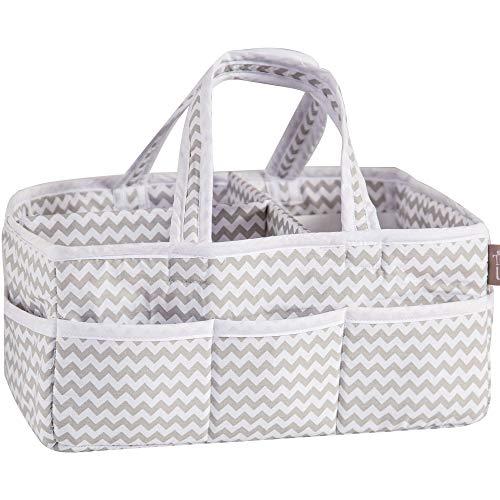Dove Gray Chevron Zig Zag Nursery Diaper Storage Caddy