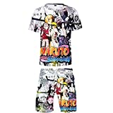 Aatensou Camiseta de manga corta y pantalones cortos para hombre con impresión 3D de Naruto de Uchiha Street Fashion Chándal deportivo de 2 piezas (K6,M)