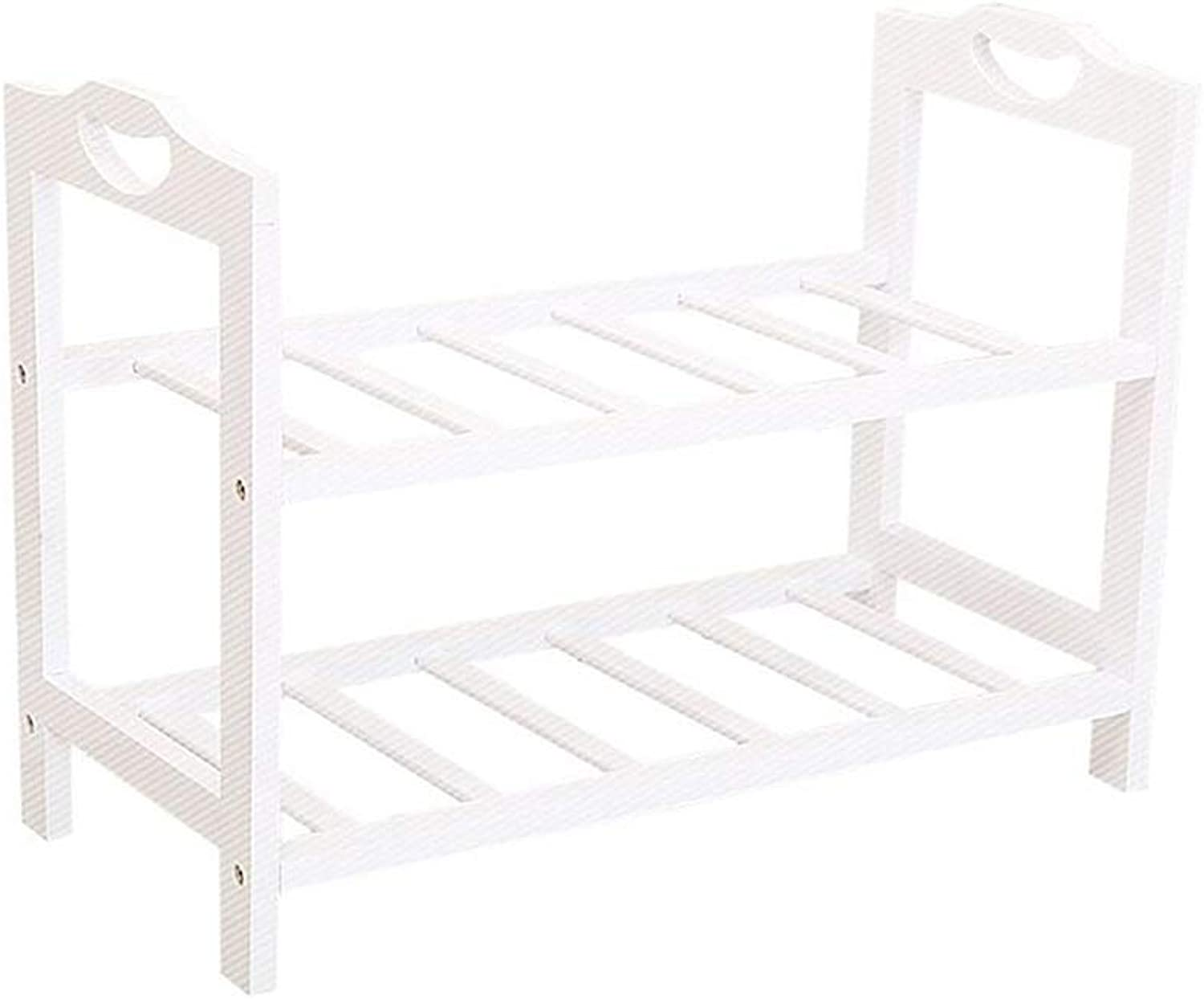 Teng Peng Practical shoes Rack-Flat Multi-Layer shoes-shoes Cabinet Storage Cabinet Solid Wood Cabinet Tower Space Saving Storage Design-White shoes Storage Rack