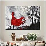 cuadros decoracion salon Decoración de pared abstracta moderna Pintura en lienzo Abrigo rojo Chica en la noche Póster pintado a mano Impresiones en lienzo para regalo de sala de estar 23.6x31.5in (60