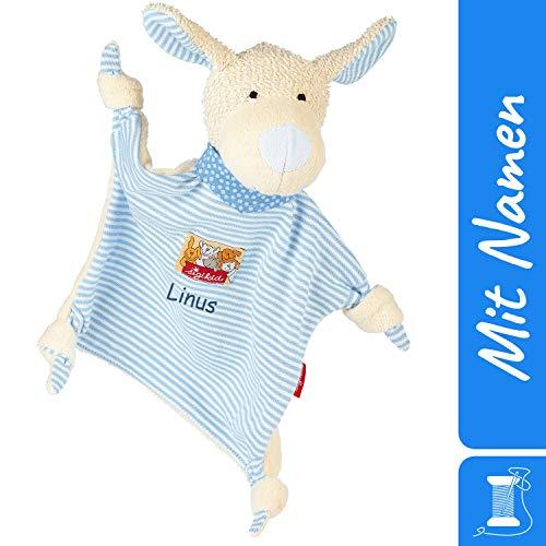 Sigikid Schnuffeltuch Hund mit Namen Bestickt, Baby & Kinder Schmusetuch personalisiert, Kuscheltuch Geschenkidee Junge, sigikid, Blau, 48096