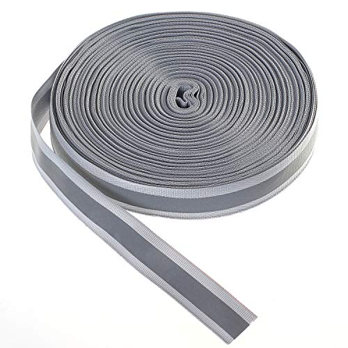 46 Meter x 20mm Reflektierendes Band zum Aufnähen, Reflektorband - 20 mm Breite - mit 10mm Reflektionband - Sicherheit Reflexband Leuchtband zum Annähen, Grau, TKB5080-grey