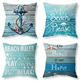 LuckyCow Nautical Wood Beach Rules Quote Holiday Blue Wood Grain Marine Theme Throw Pillow Covers 18'x18' Outdoor Bench Decoration Pillowcase Set of 4