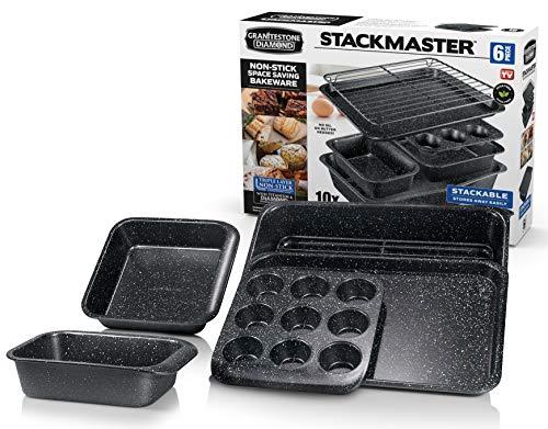 GRANITESTONE 6 Piece Baking Pan Set, 0.8MM Gauge, Durable Nonstick Surface, Oven Safe 550°F with No Warping, Dishwasher Safe, Cookie Tray, Roaster, Muffin Pan, Square Pan, Loaf Pan and Rack