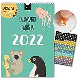Calendario per famiglie 2022   29,7 x 42cm   ampi spazi/box   228 adesivi   BAMBINI   Planner da parete, Planner da muro   Giorni festivi   Graziosi motivi animali, Decorazione, colorato, Design, Kids
