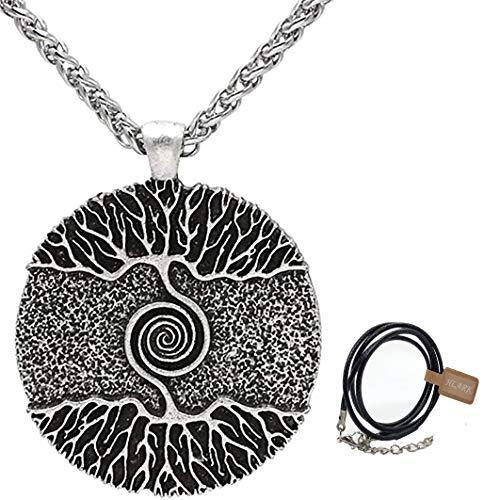 HLARK Wikinger Halskette mit Nordischem Lebensbaum Yggdrasil Wikinger Kette Anhänger Keltischen Amulett Schmuck für Männer Herren (#1)